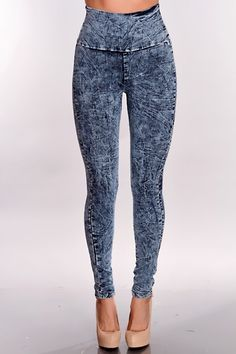 Denim Multi Acid Wash High Waist Pants