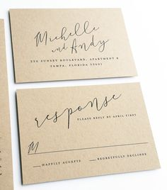 Michelle Calligraphy Script Recycled Kraft Wedding Invitation Sample {Description} Centered around a gorgeous hand-written calligraphic font, the Michelle wedding invitation is printed in black on a lovely recycled kraft card stock and can be modified to fit your big day. This