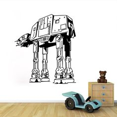 DIY Star Wars Imperial Walker Black Wall Sticker Home Decor for Living Rooms Decorative PVC Removable Pegatinas De Pared