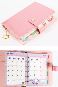 2014 Hello Kitty Agenda Weekly Planner Diary Embossing PVC Leather Pink A6 So much want right here
