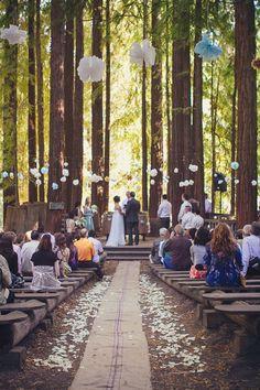 Forest wedding with Paper Lanterns Rustic Wedding Decor - Weddbook Wedding Wishes, Wedding Bells, Wedding Events, Wedding Locations, Big Sur Wedding Venues, Wedding In The Woods, Our Wedding, Dream Wedding, Wedding Reception