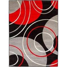 Circles And Rings Contemporary Black Red Grey Hand Carved Area Rug 7 10 X 9
