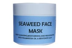 Seaweed Face Mask - a deep cleansing, moisturising and rejuvenating face mask all skin types. Seaweed is rich in vitamins,minerals and trace elements,it improves the circulation,is anti-inflammatory and rejuvenating blended with Bentonite it will deeply cleanse the skin and remove impurities and toxins.Glycerine will moisturise and Palmarosa oil  stimulates cell regeneration making it rejuvenating,it hydrates and balances sebum production.