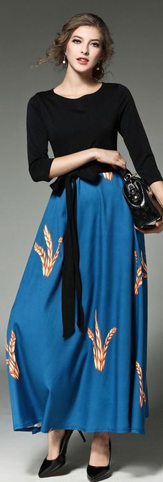 Blue and Black Wheat Print Tie Dress