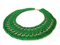 Green Crochet Chain Collar Bib Necklace by ChichiKnots on Etsy