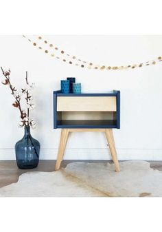 Table de chevet design scandinave Basile Bleu indigo