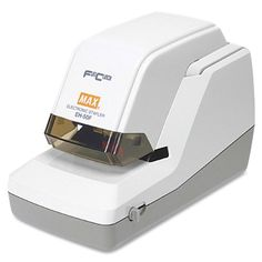 Max EH-50F Max EH-50F Heavy-Duty Flat Clinch Electric Stapler, 50 Sheet Cap.  Ultra-quiet, ultra-efficient motor-driven mechanism staples up to 5,000 times without reloading. Flat-clinch staple closes flat so papers stack neatly and evenly. Staple clearing latch. Throat adjusts from 1/4 in to 3/4 in. Top loads a cartridge (5,000) of flat clinch staples. Putty. 12-foot cord. Package includes 5,000-staple cartridge. Manufacturer's one-year warranty. All sheet capacities are based on 20..
