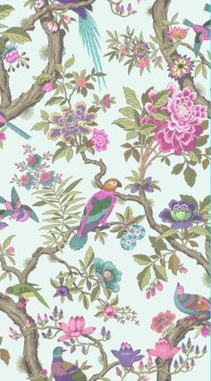 "Fontainebleau (99/12051) - Cole & Son Wallpapers - A wallpaper featuring a ""tree of life"". Inspired by the Palace of Fontainebleau outside Paris, this wallpaper shows a flock of exotic birds in vibrant colours. Shown here in rose pink and duck egg. Another colourway is available. Unfortunately, samples are unavailable. Wide width roll with 114cm pattern repeat. Paste the wall."