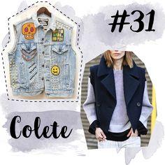 Post com looks usando vários tipos de colete. - Outfits with vest
