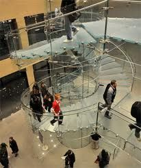 Floating Glass Staircase, West Street Apple Store, New York City. Apple famous for its attention to design, which extends even to the details of its retail stores. The spiral twice up to the second and thrid floors. Armani Store, Zhangjiajie, Doha, Travel Photography Tumblr, Bali, Take The Stairs, Louvre, Glass Floor, Stairway To Heaven