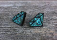 FREE SHIPPING Wood Burned Metallic Teal Glitter Wooden Jewelry Diamond Shaped Geometric Gem Stud Earrings - Light Aqua Blue and Natural