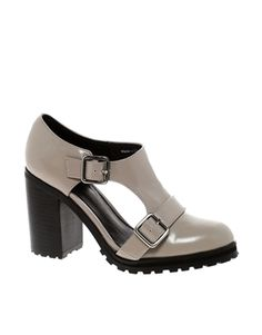 grey cut out heels