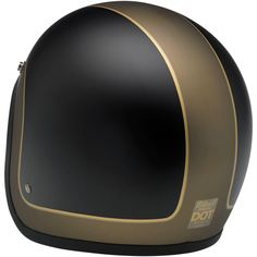Biltwell Bonanza Helmet: LE Tracker Black/Gold • Injection-molded ABS outer shell with hand-painted finish • Expanded polystyrene inner shell • Hand-sewn removable brushed Lycra liner with contrasting diamond-stitched quilted open-cell foam padding • Meets DOT safety standards • Rugged plated steel D-ring neck strap with adjustment strap end retainer • Rubber or chrome accent edging • XS through XXL sizes