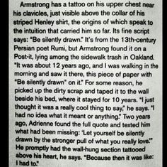 """Story of Billie's """"Be Silently Drawn"""" tattoo! :)"""