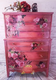 Funky Painted Furniture, Decoupage Furniture, Distressed Furniture, Refurbished Furniture, Paint Furniture, Upcycled Furniture, Shabby Chic Furniture, Furniture Makeover, Vintage Furniture
