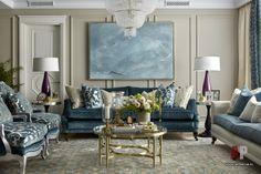 Фото интерьера гостиной квартиры в стиле неоклассика