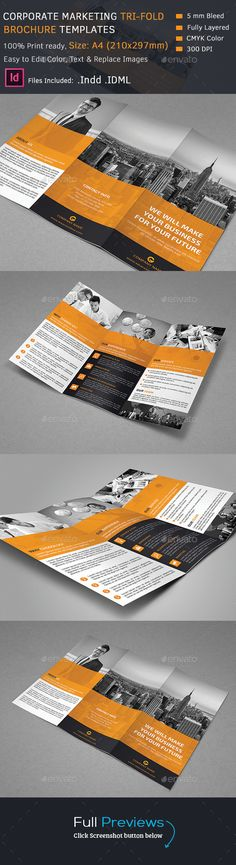 Corporate Tri-Fold Brochure Template #design Download: http://graphicriver.net/item/corporate-trifold-brochure/12953585?ref=ksioks