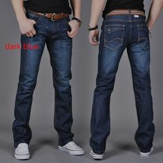 Mens Jeans Denim Pants Slim-fit Fashion Straight Long Trouser