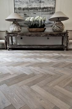 -Lauzes Herringbone – Aged Wood Flooring A great way to add depth and character to almost any interior is an elegant herringbone wood floor. Each individual block is sanded by hand to create a soft, time abraded surface. Cleaning Wood Floors, Rustic Wood Floors, Grey Wood Floors, Wood Wood, Sanding Wood Floors, Painted Floors, Hall Flooring, Timber Flooring, Parquet Flooring