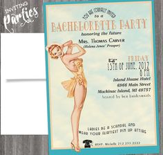 Vintage Pin Up Girl  Invitation- Bachelorette party, Hens night, Lingerie Shower Birthday invite diy print file PRINY YOUR OWN. $15.99, via Etsy.