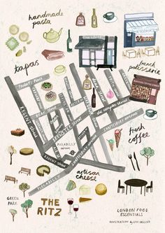 Illustrated maps for  London Food Essentials