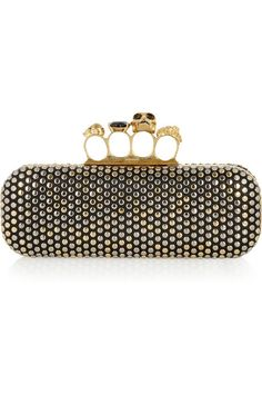 Handle this: Alexander McQueen Swarovski crystal-studded skull leather knuckle box clutch.
