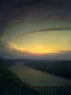 By Rob Evans, landscape painting of circling clouds over river