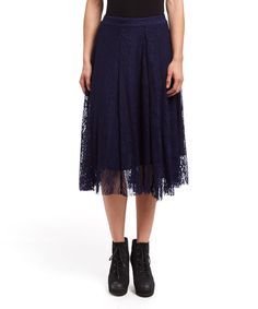 Look at this #zulilyfind! Simply Irresistible Navy Lace-Overlay Midi Skirt by Simply Irresistible #zulilyfinds