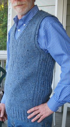Free Knitting Pattern for Mens Textured Vest