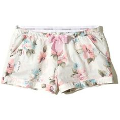 Hollister Woven Sleep Shorts ($20) ❤ liked on Polyvore featuring intimates, sleepwear, pajamas and white floral