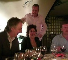 January 8, 2008 -- Alan Rickman having dinner at Silver Birch Kitchen in Cape Town with Ruby Wax.