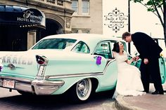 Vintage wedding car photo. Wedding Car, Wedding Stuff, Destination Wedding, Dream Wedding, Car Photos, Big Day, Vintage Cars, Latest Fashion, Wedding Photography