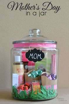 Love this! Take your kids to pick out lots of your mother's favorite things and put them in a big pretty jar. She'll have special treats for weeks to come and you can customize however you wish! #SharetheDOVE
