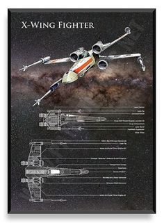 X-Wing Poster Star Wars Ship Star Wars by PatentPrintsPosters