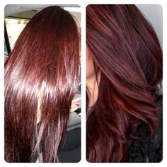 """LOVE this hair color. They're calling it """"Cherry Coke"""" red."""