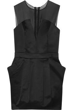 PIERRE BALMAIN Organza-Paneled Stretch Cotton-Blend Satin-Twill Mini Dress. #pierrebalmain #cloth #dress