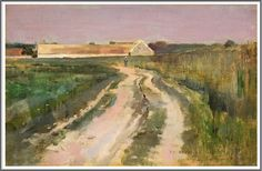 Theodore Robinson (1852-1896), Farmer on a Country Road - 1885.