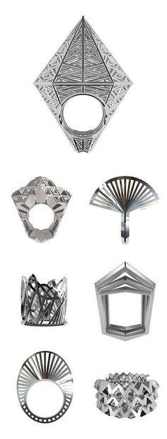 Germany's VOJD Studios, who 3D-prints, then casts in silver, to create these geometric wonders. Rings also available in 3D-printed nylon.
