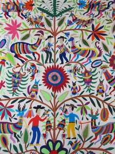 Mexican textile embroidered by hand by Otomi women.