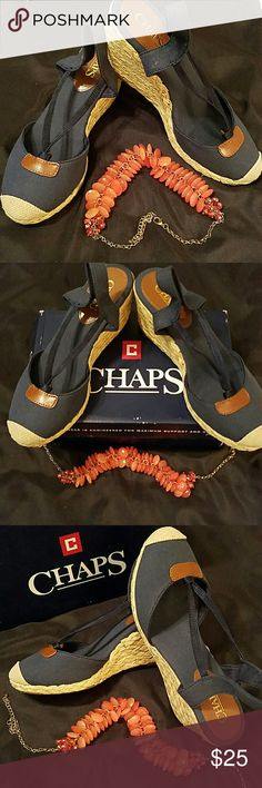 CHAPS NAVY WEDGE SLINGBACK SHOES (NEW) So comfy navy canvas woven wedge shoes. Chaps Shoes Wedges