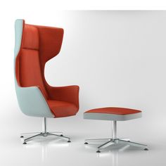 Groupe Lacasse – Arold | The new Orsay lounge chair by Arold offers a unique and wrapping look and is complemented by an ottoman. A low-profile chrome base embellishes this Achieve a distinc…
