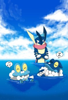Not Allowed To Be Lazy! by Winick-Lim.deviantart.com on @deviantART (Froakie, Frogadier & Greninja)