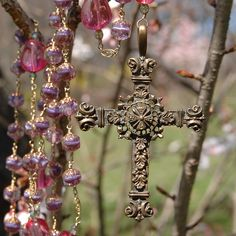 beautiful pink rosary.