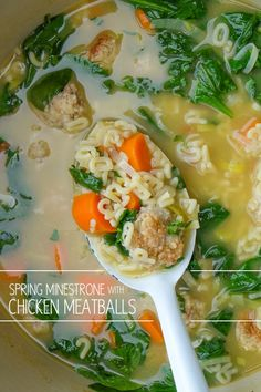 The perfect way to warm yourself up on the cold Spring evenings is with this Spring Minestrone with Chicken Meatballs