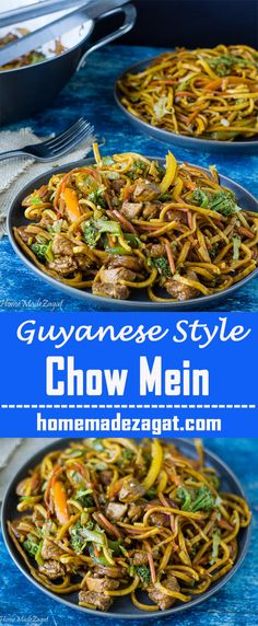 Chow Mein - with Caribbean influence. Packed with chicken, shrimp and vegetables.  Also uses Guyanese Cassareep for added flavor.