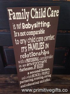 Family Child Care daycare wooden sign by PrimGifts on Etsy