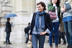 cuff striping beauty    Fifty Great Street-Style Looks From Paris Fashion Week So Far - The Cut