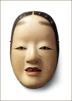 noh mask, zo.  神秘的な趣をたたえた女性の面。額から頬にかかる毛の描き方から、数種類ある女面の中では「増」に分類されるが、尾張家では小面の名称で伝えられ、使用されてきた。面裏に「天下一近江」の焼印があり、児玉家の初代、近江満昌(みつまさ)の作と知られる。
