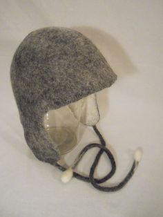 Felt hat whith ear flaps, Reversible merno felted hat with ear warmers, Felted gray melange hat, Unisex hat by BuriFelt on Etsy