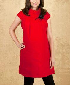 Look what I found on #zulily! Red Angelina Maternity Turtleneck Dress by Mumma Dadda Bubba #zulilyfinds
